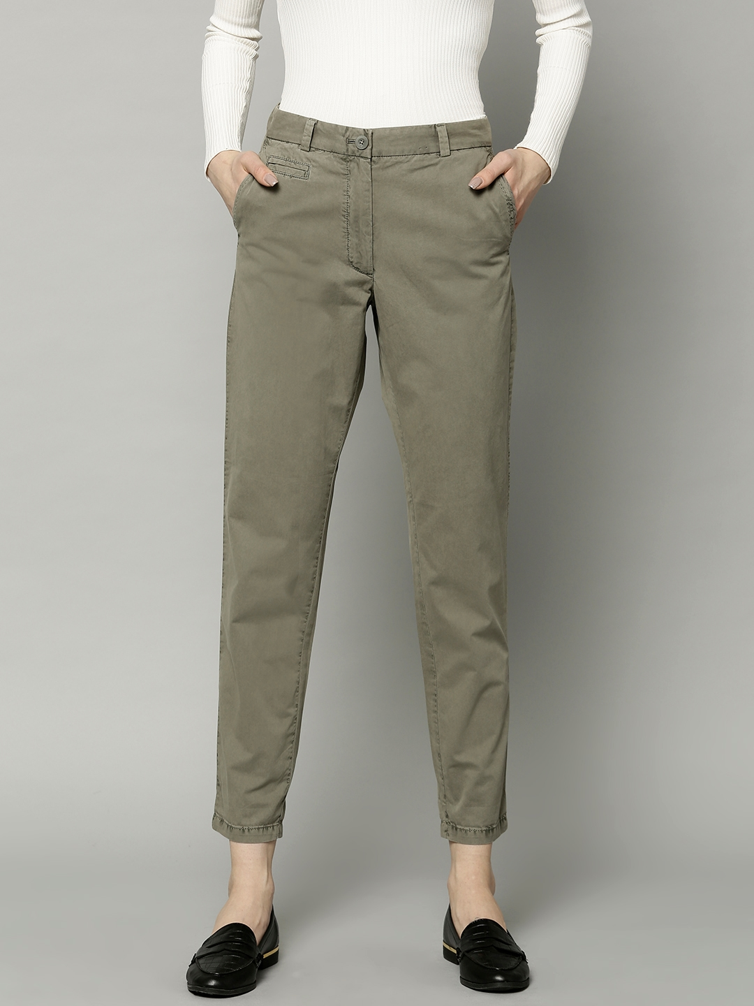 New Womens Marks /& Spencer Green Linen Crop Trousers Size 8