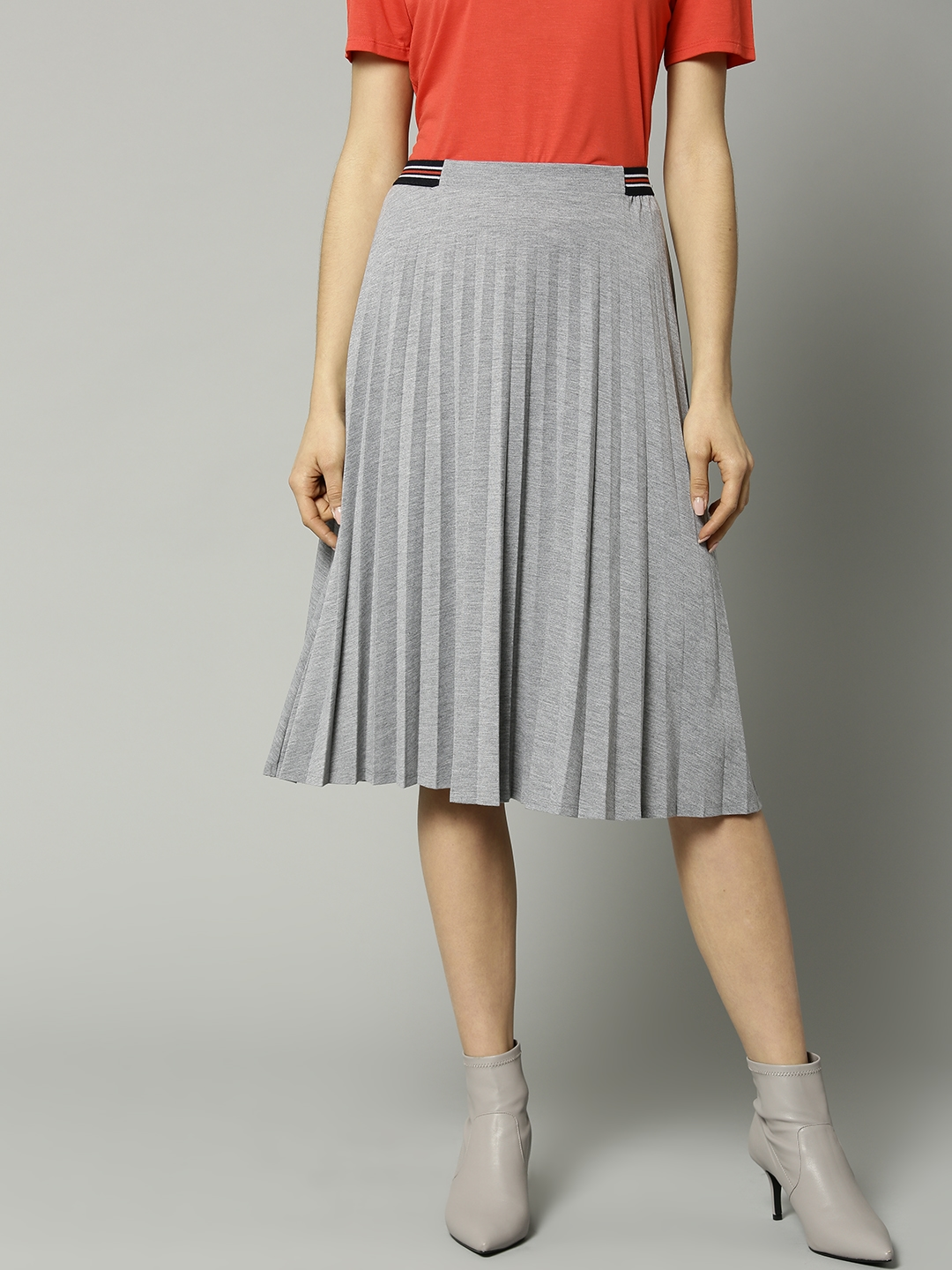 9f2eebbe0d Marks & Spencer Women Grey Melange Solid Accordion Pleated A-Line Skirt
