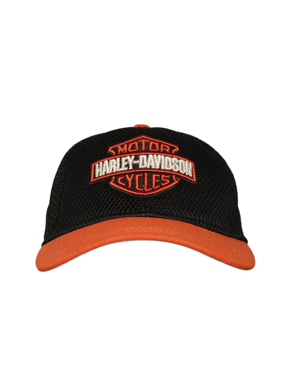 c5596c3d166 Buy Harley Davidson Men Black   Orange Self Design Baseball Cap ...