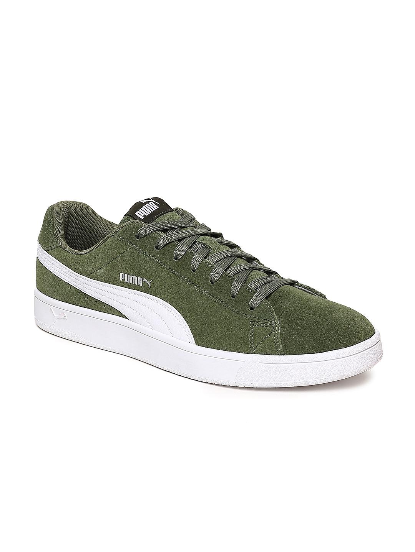 Buy Puma Men Olive Green Court Breaker Derby Suede Sneakers - Casual ... ca310f31a