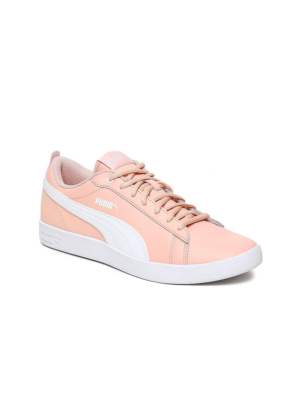 38cb82d5dcd67f Puma Women Peach-Coloured   White Smash Wns v2 L Leather Sneakers