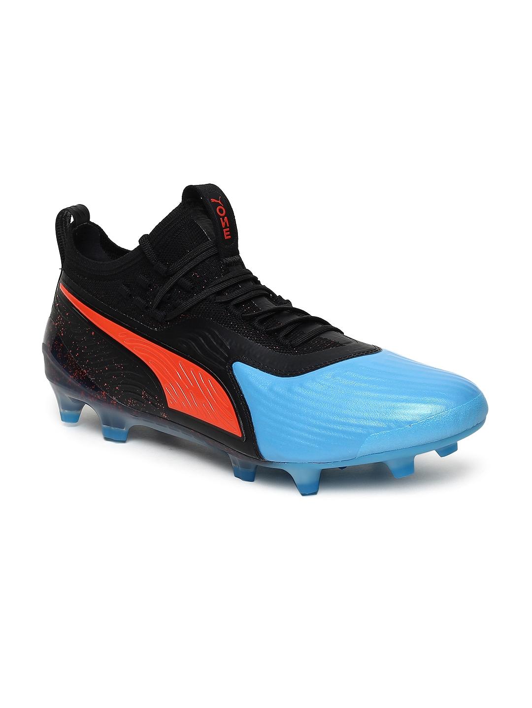 740613f0b8bf Buy Puma Men Black   Blue ONE 19.1 FG AG Leather Football Shoes ...