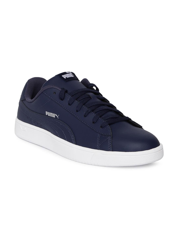 Buy Puma Men Navy Blue Court Breaker Derby L Leather Sneakers ... 9e8b8e080