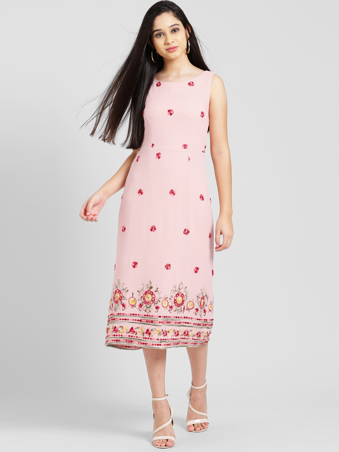 ae5812acde7eb Buy Zink London Women Pink Self Design Fit And Flare Dress - Dresses ...