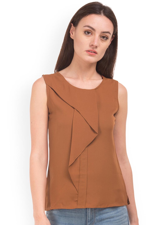 b0575aee5cf666 Buy Cherokee Women Brown Solid A Line Top - Tops for Women 8487095 ...