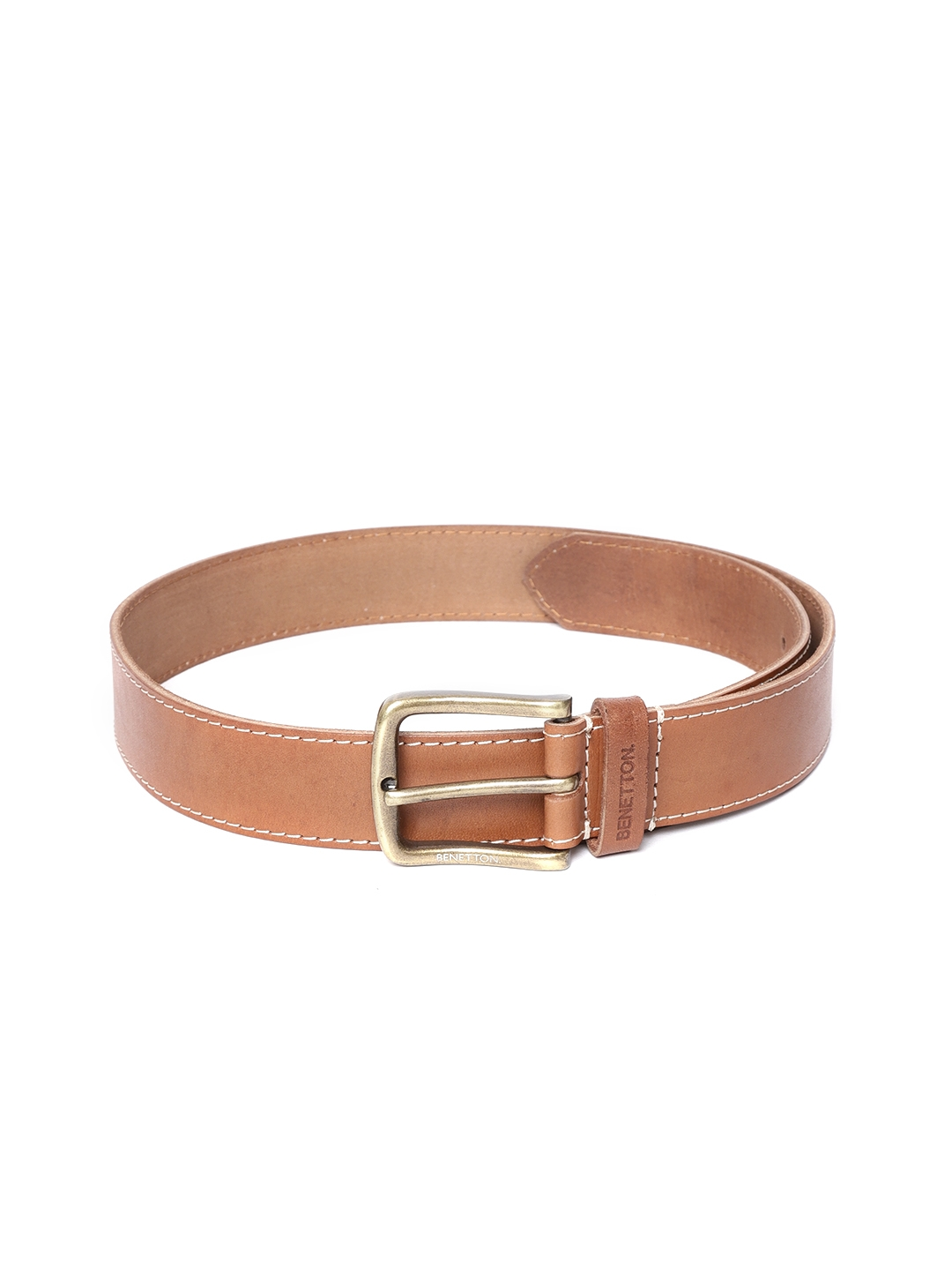 United Colors of Benetton Men Tan Brown Solid Leather Belt