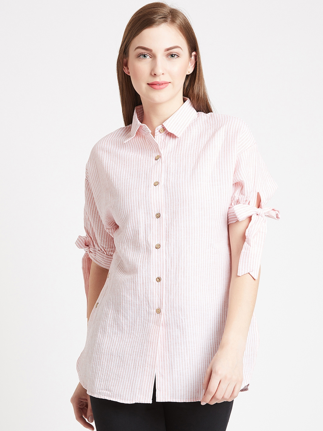 1e442b388f58ee Buy COVER STORY Women Pink Striped Shirt Style Top - Tops for Women ...