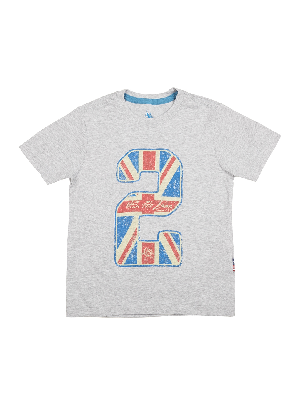 bd4f10c04 Buy U.S. Polo Assn. Kids Boys Grey Printed Round Neck T Shirt ...