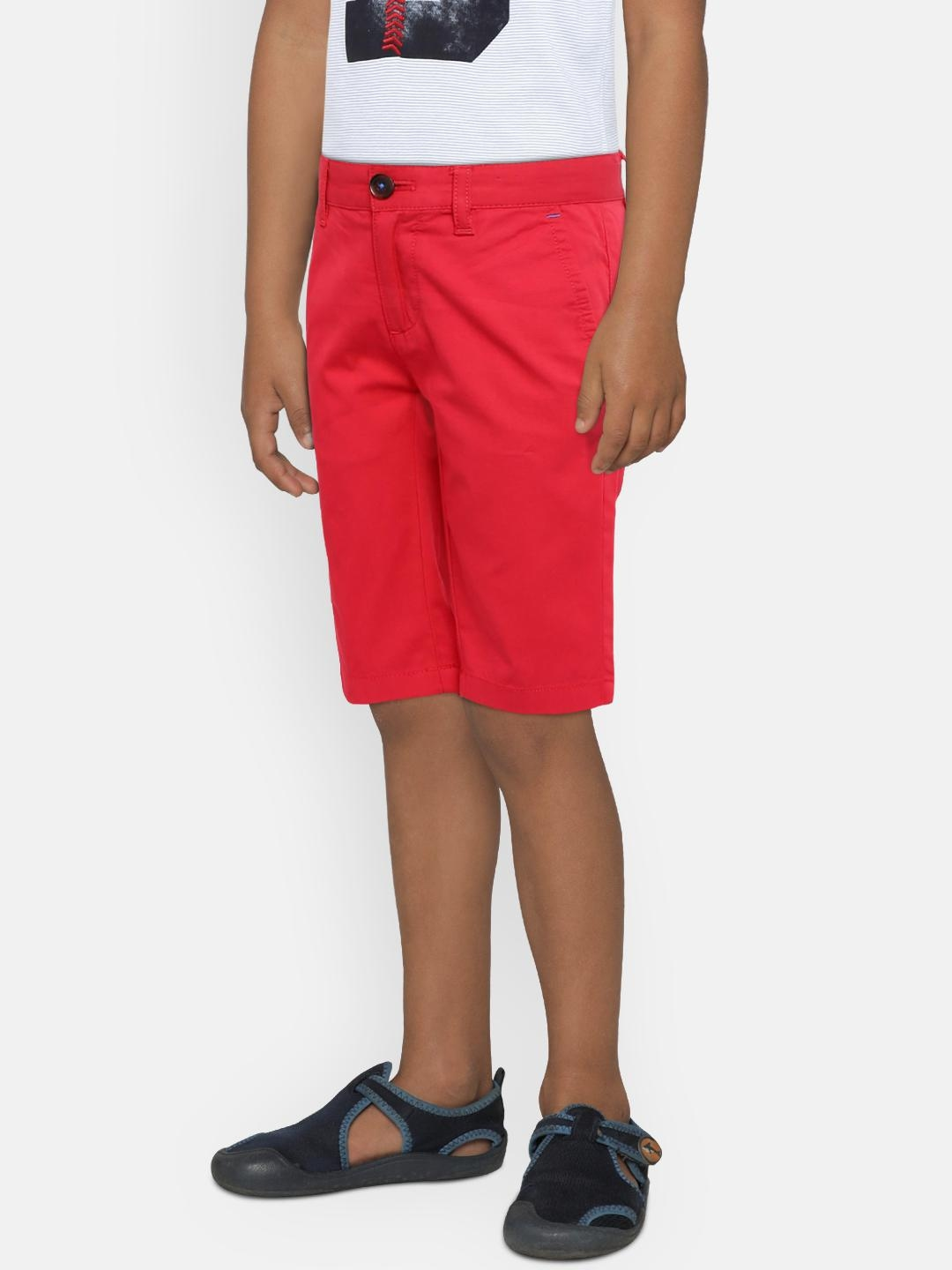 3224ff57 Buy Indian Terrain Boys Red Solid Regular Fit Regular Shorts ...