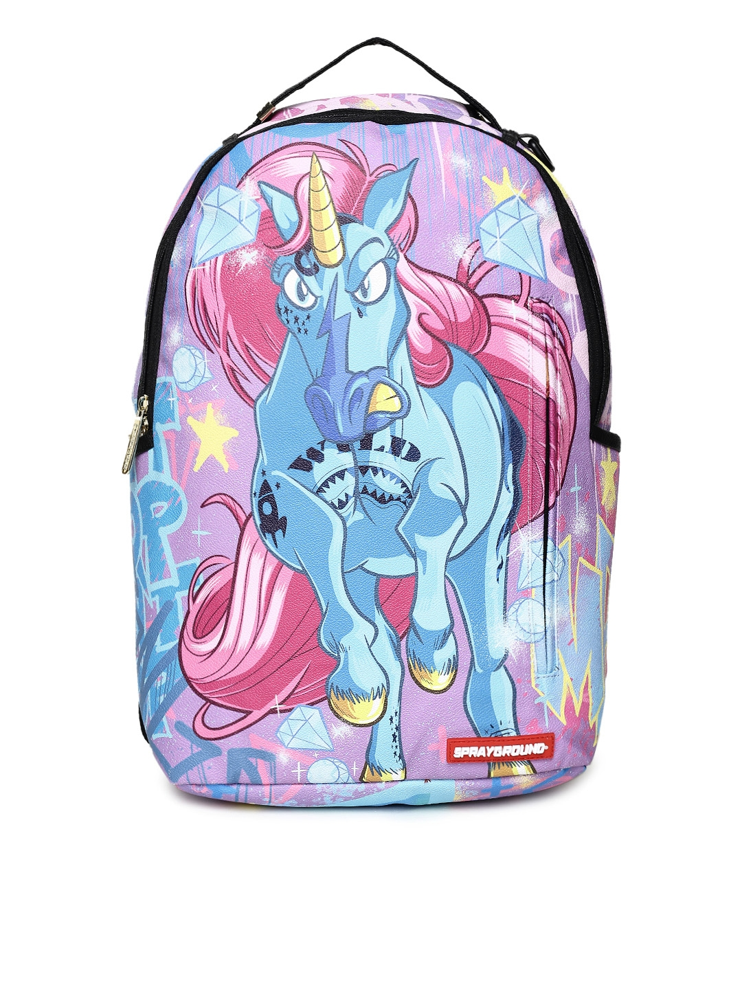 fc04396328d Buy SPRAY GROUND Unisex Blue & Pink Graphic Printed Backpack ...