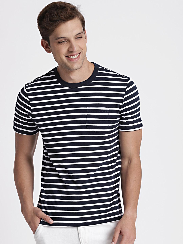 9de8e7f7bc Buy GAP Men Navy Blue & White Striped Round Neck T Shirt - Tshirts ...