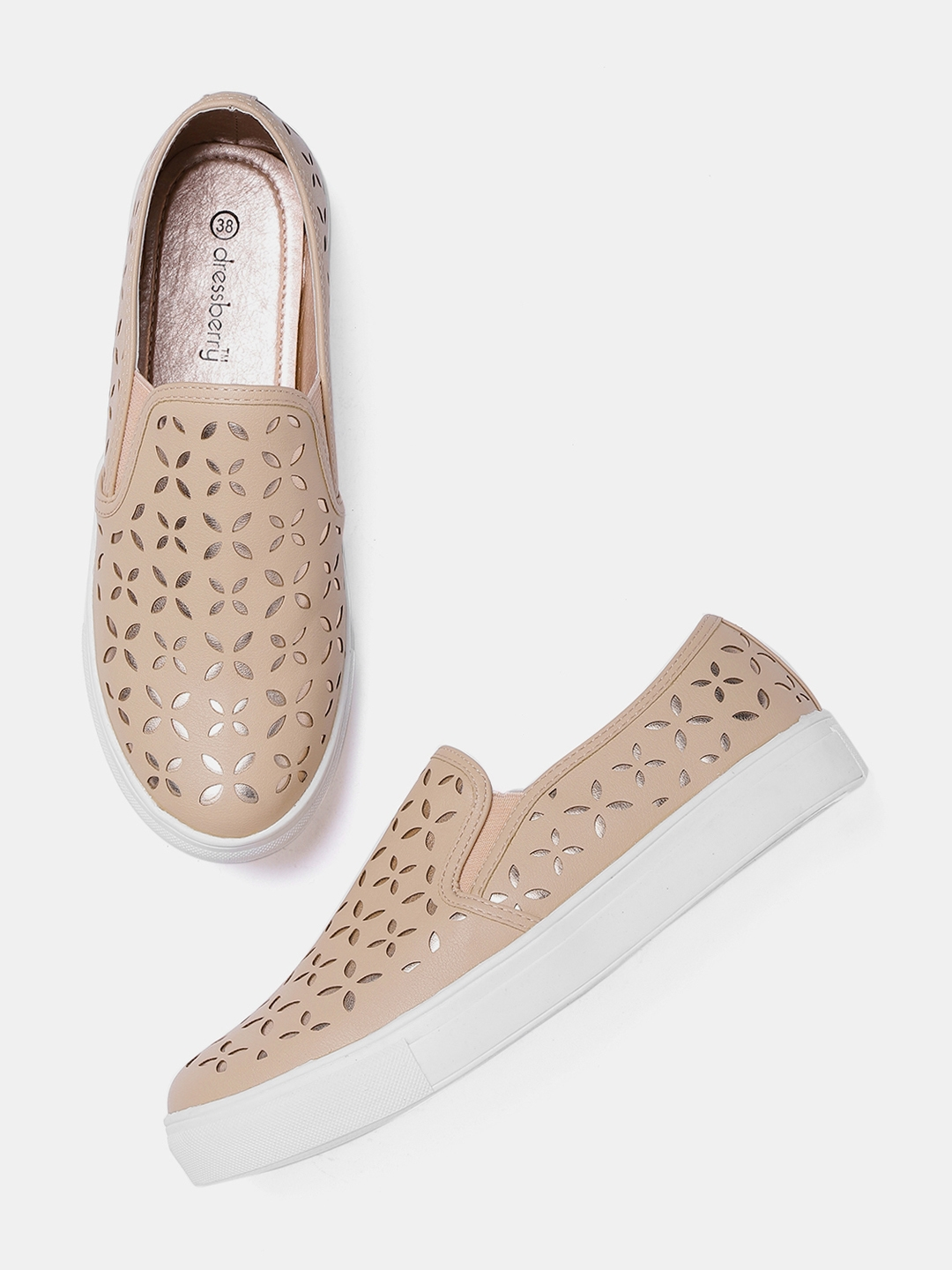 10971988e956 DressBerry Women Peach-Coloured   Rose Gold-Toned Cut-Work Slip-On Sneakers