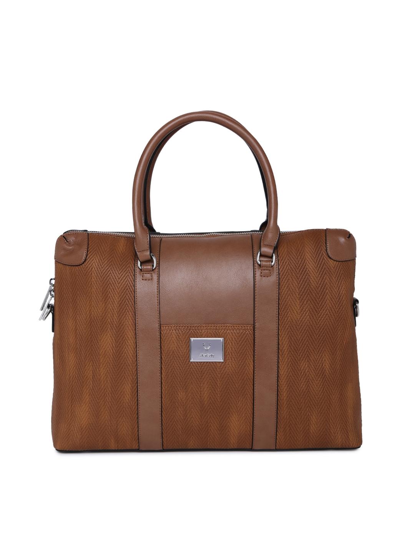 f08f9ce13a Buy Allen Solly Coffee Brown Textured Handheld Laptop Bag - Handbags ...