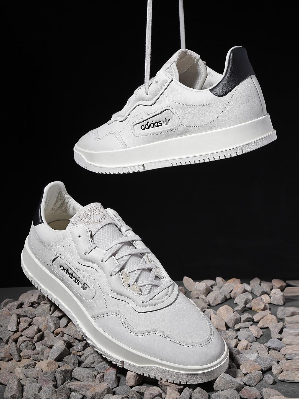 df7c7cb4 Buy ADIDAS Originals Men Grey Super Court Premiere Leather Sneakers ...