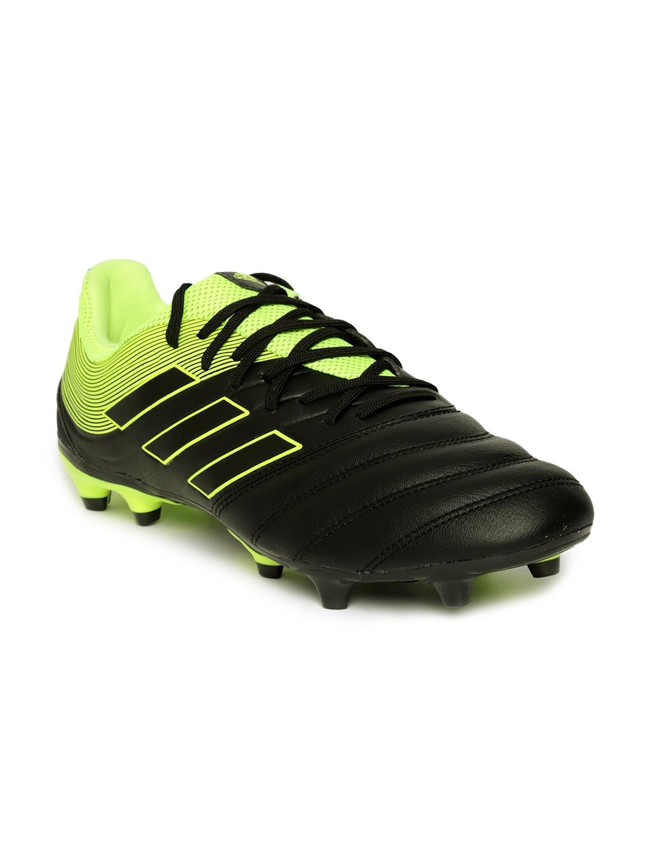 ADIDAS Men Black   Fluorescent Green COPA 19.3 Firm Ground Textured  Football Shoes ec998f68c