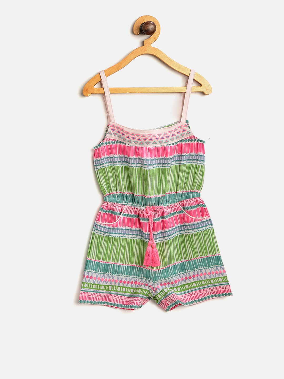 d2317d4a46a Buy Nauti Nati Girls Pink   Green Printed Playsuit - Jumpsuit for ...