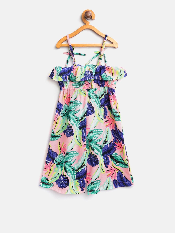 f9a0da3bdad Buy Nauti Nati Girls Peach Coloured   Blue Printed Basic Jumpsuit ...