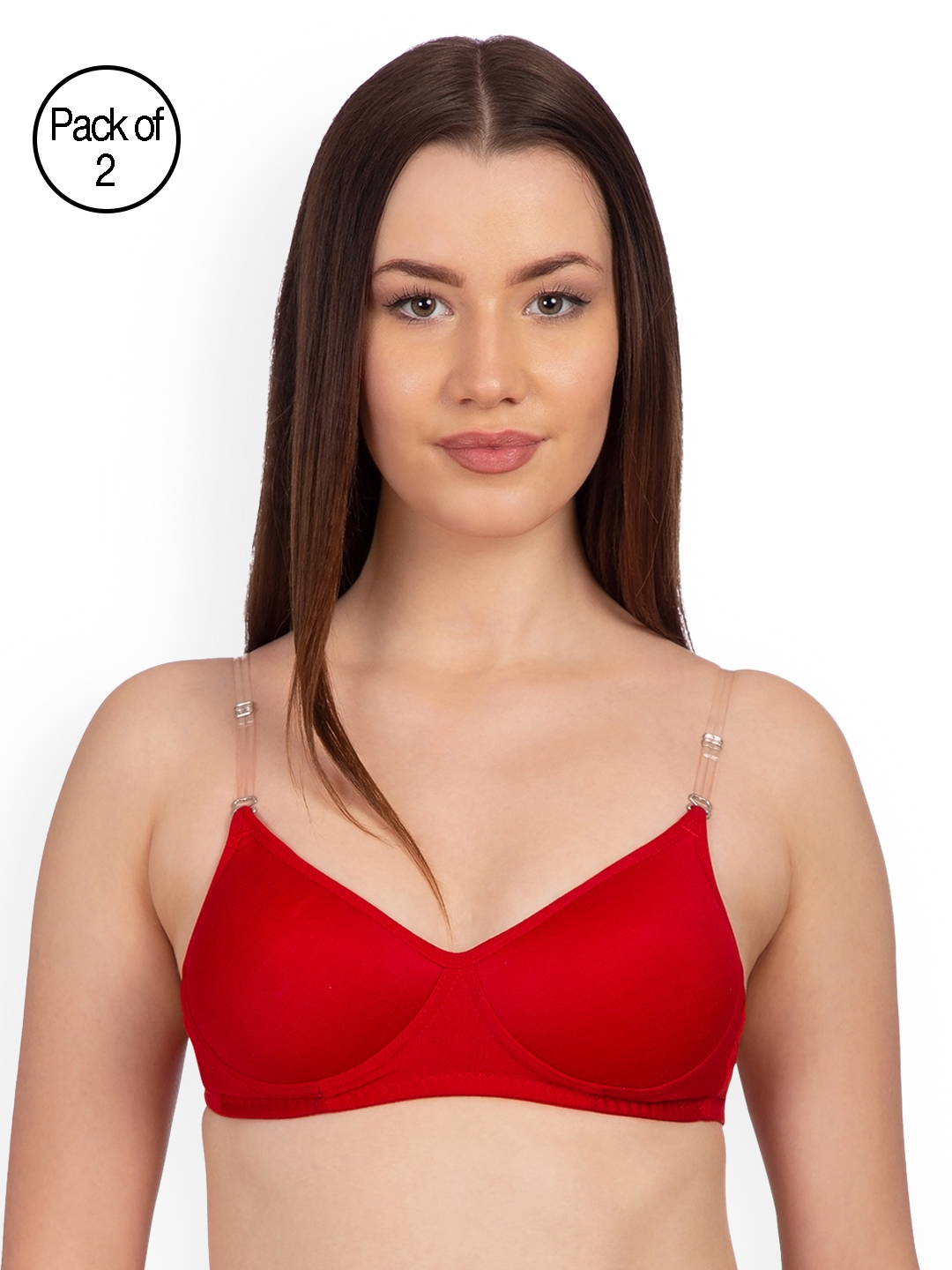 4d9802957f3 Komli Pack of 2 Non-Wired Heavily Padded Transparent Back T-shirt Bras  K9515-2PC-RD