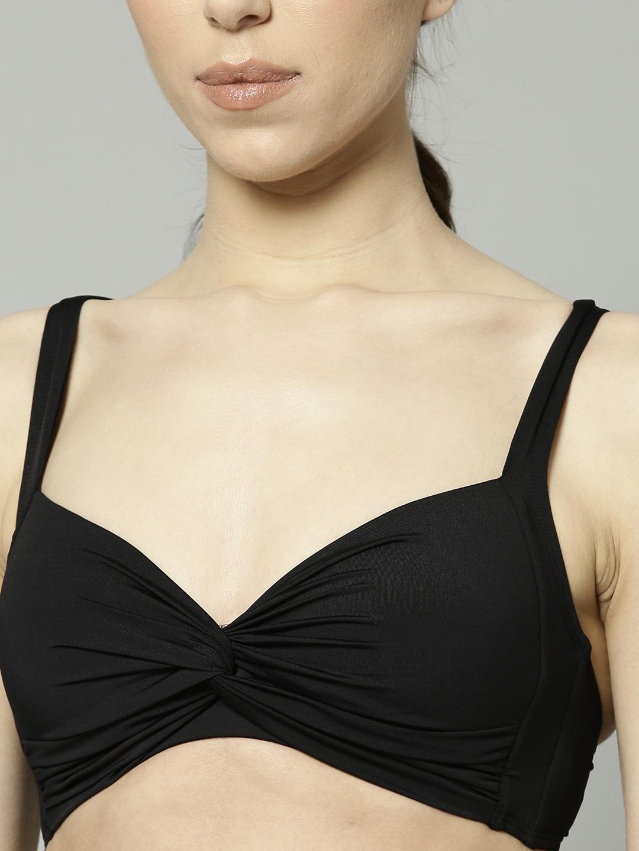 c671828e6924bd Marks & Spencer Women Black Solid Plunge Swim Bikini Bra T522785B