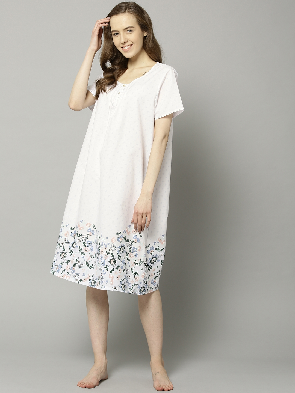 Buy Marks   Spencer White   Grey Printed Midi Nightdress T377867 ... c19232216