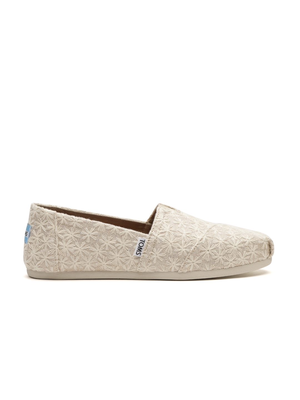 Buy TOMS Women Beige Embroidered Slip