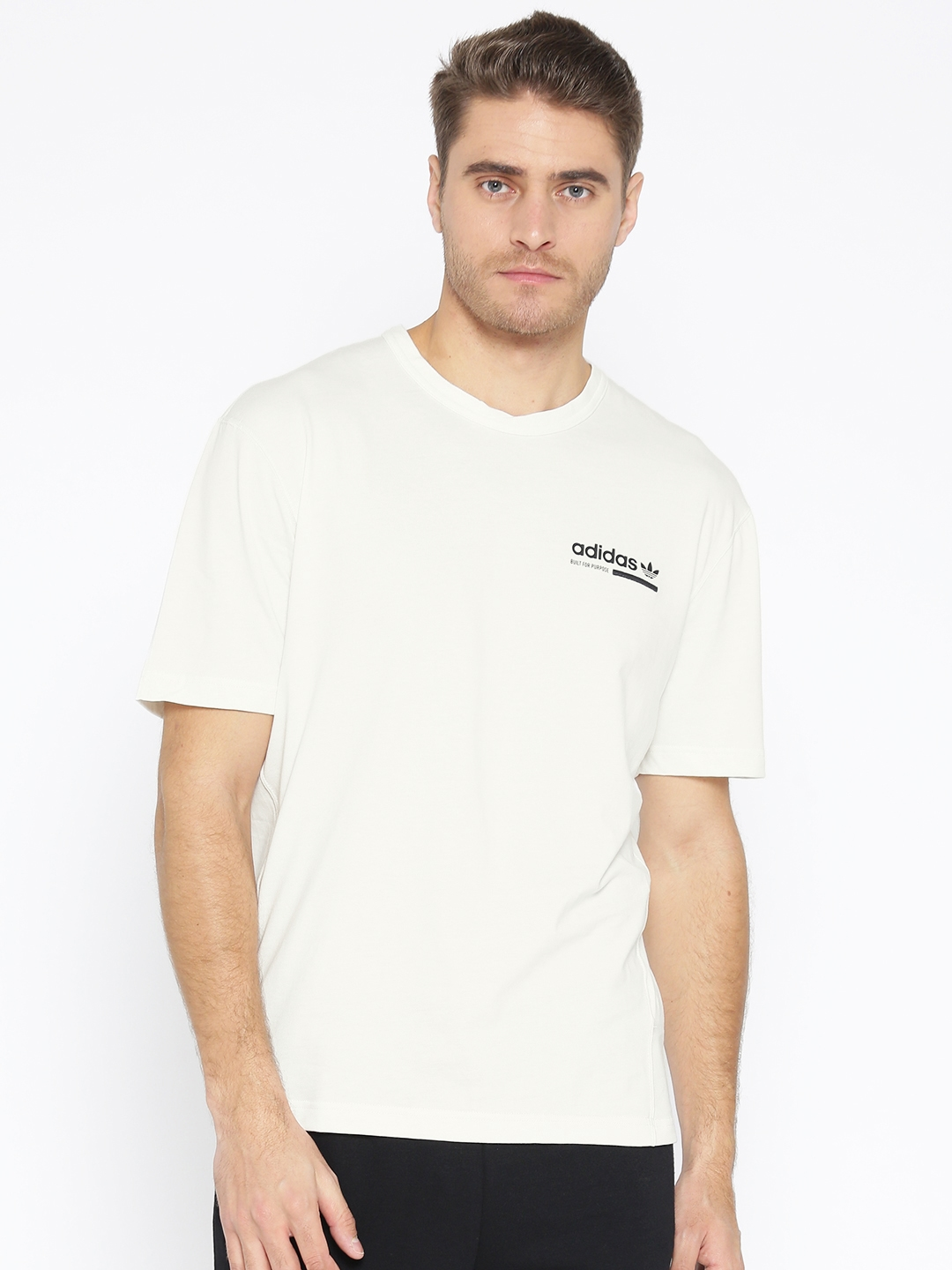 943fb1e49 ADIDAS Originals Men White Solid Kaval Graphic T-shirt With Printed Back