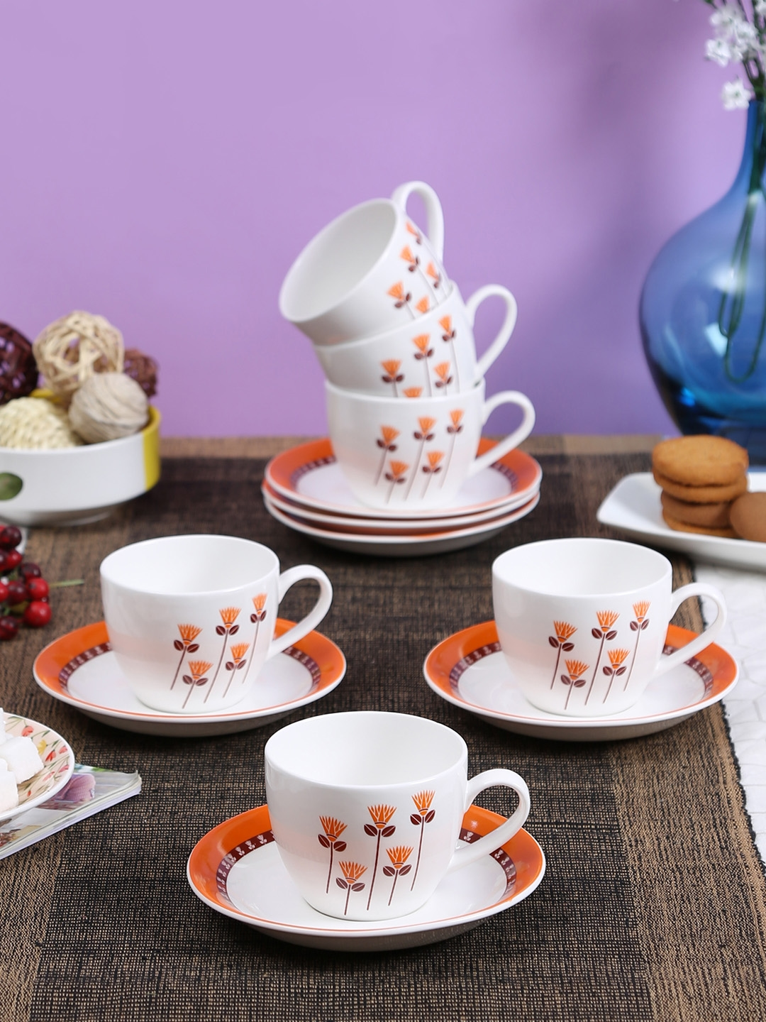 Buy Clay Craft White Printed Bone China Tea Set Cups And Mugs For Unisex 8590561 Myntra