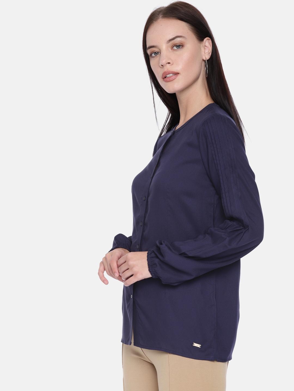 Park Avenue Woman Women Navy Blue Solid Casual Shirt
