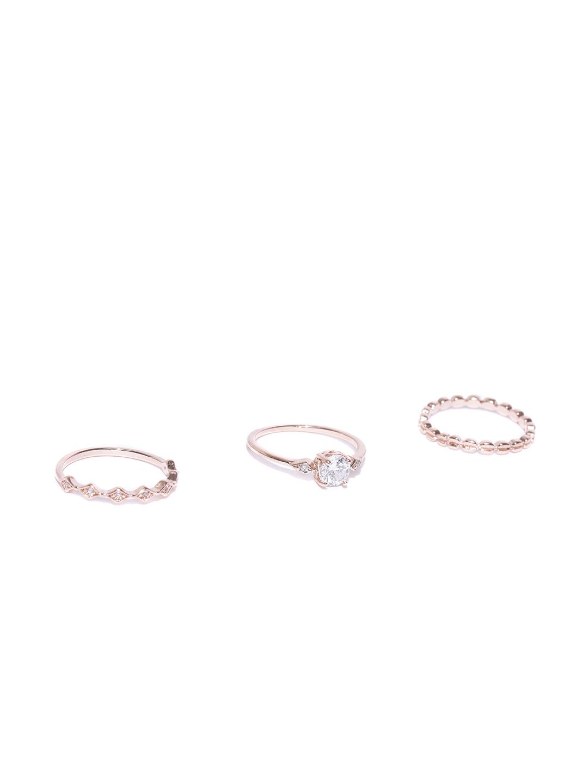 8b9d57fd7 Buy Accessorize Women Set Of 3 Rose Gold Plated CZ Studded Finger ...