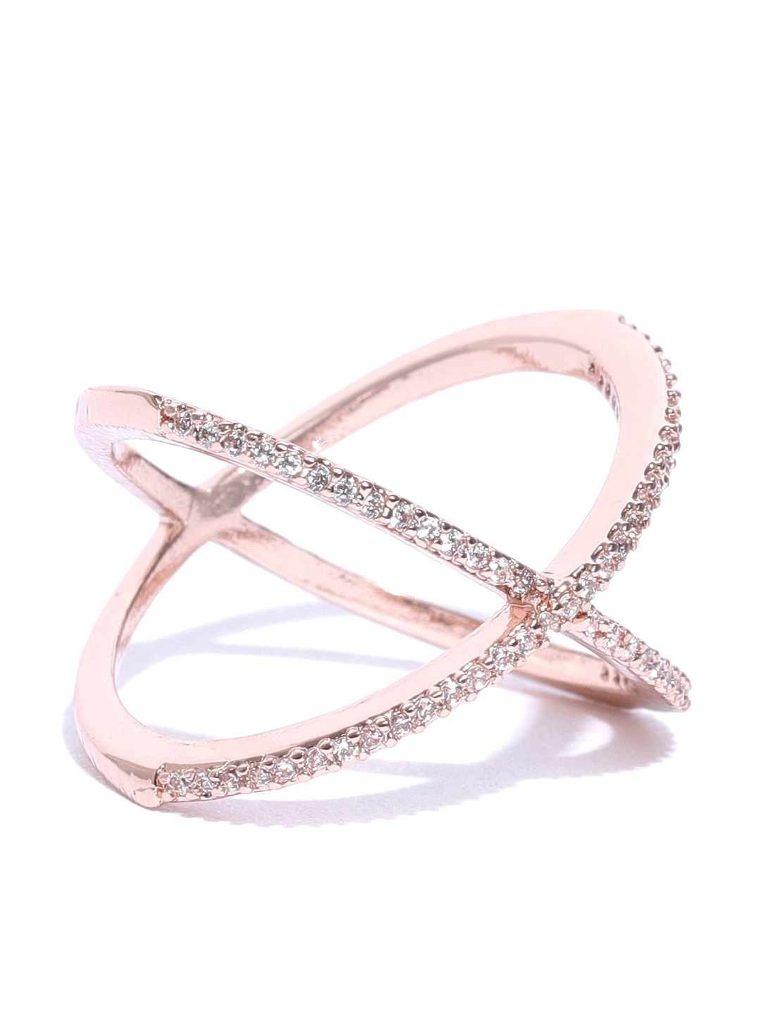 1efe1fb71 Buy Accessorize Women Rose Gold Plated CZ Studded Finger Ring - Ring ...