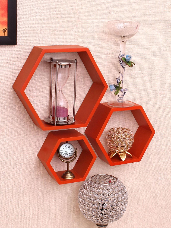 Home Sparkle Orange MDF Basic Wall Shelf