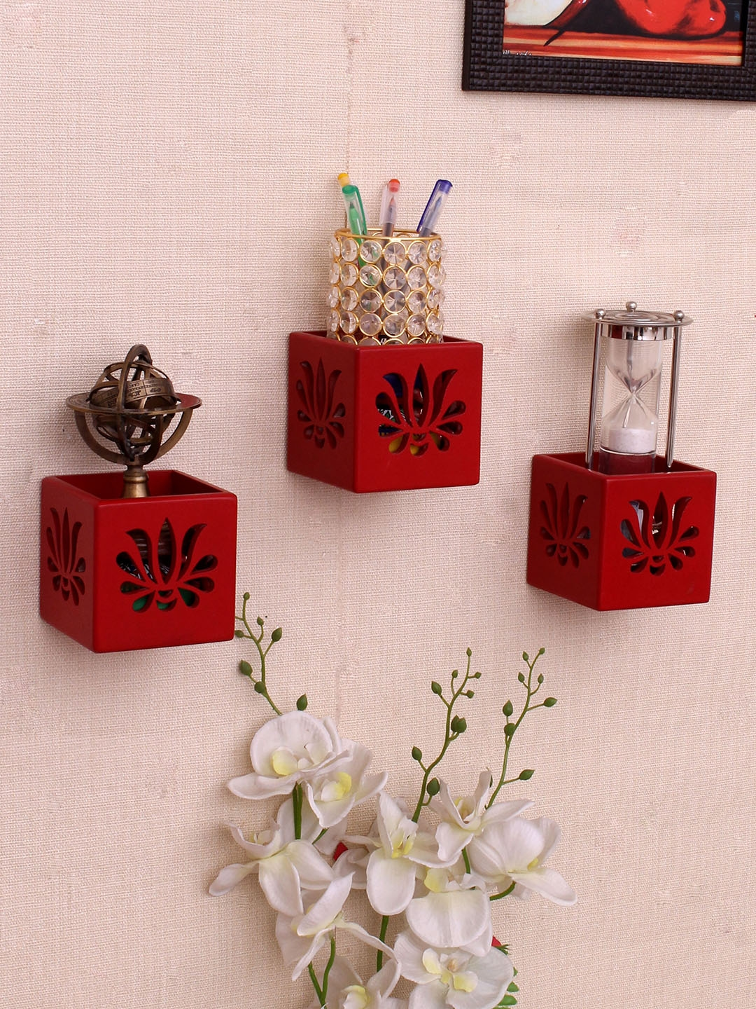 Home Sparkle Red MDF Basic Wall Shelf