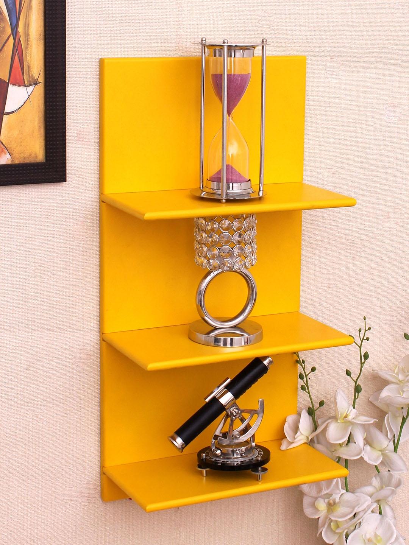 Home Sparkle Yellow MDF Basic Wall Shelf