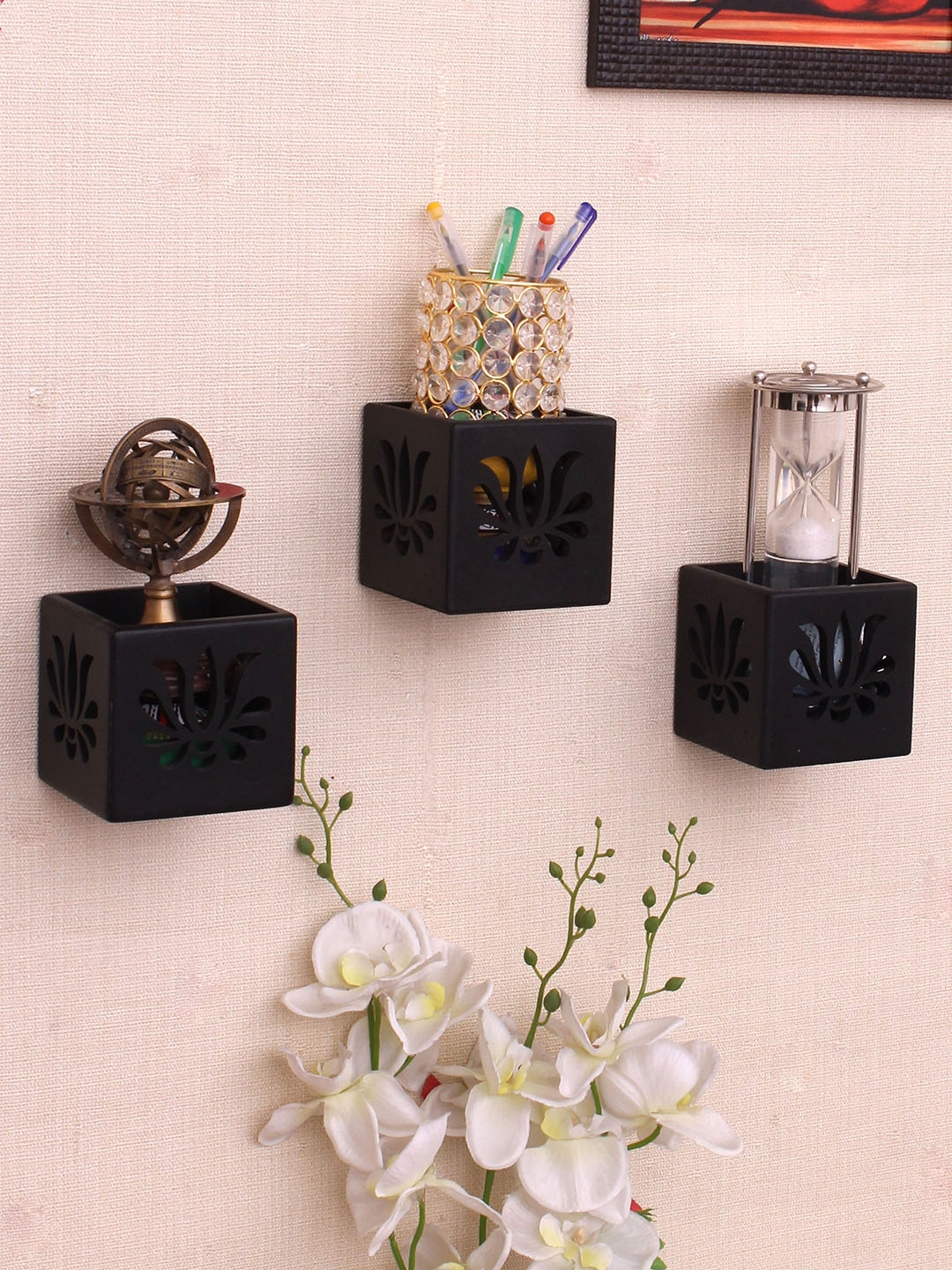 Home Sparkle Black MDF Basic Wall Shelf