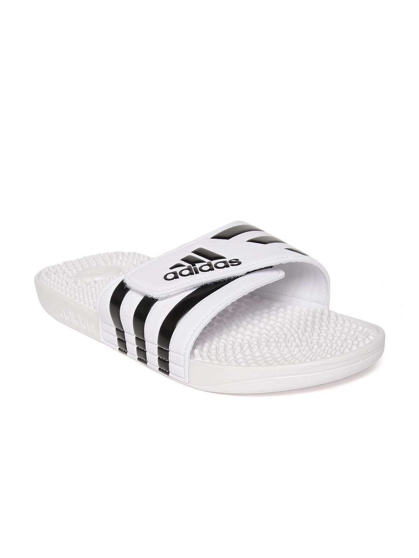 1fac511b7 Buy ADIDAS Unisex White & Black ADISSAGE Striped Sliders - Flip ...