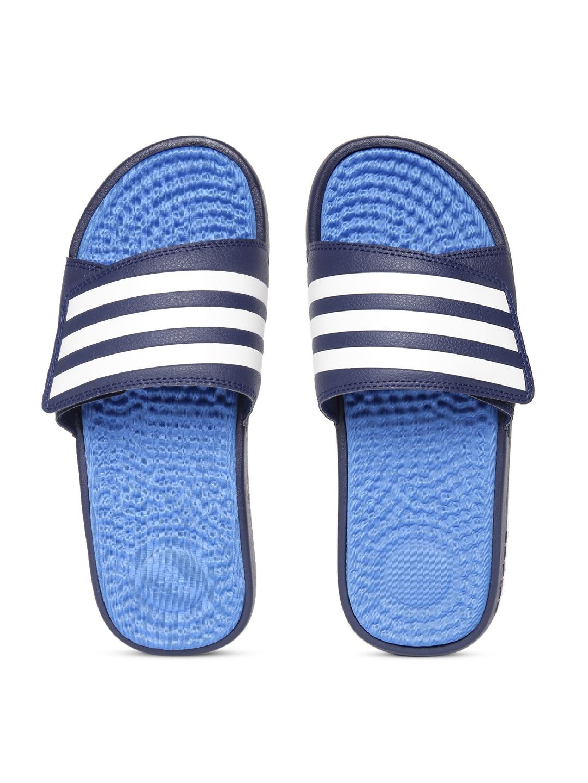 e9f307102 Buy ADIDAS Unisex Blue & White ADISSAGE TND Striped Sliders - Flip ...