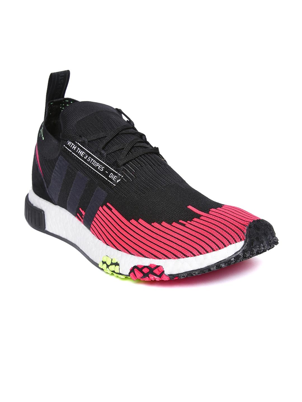 huge discount af545 af03f ADIDAS Originals Men Black & Pink NMD_R1 Primeknit Sneakers