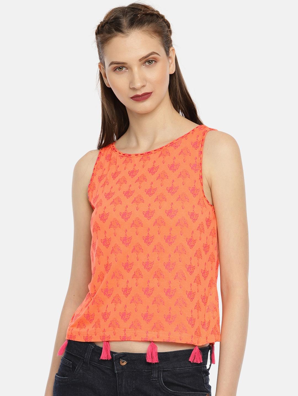 cd5921ea37cfda Buy Colour Me By Melange Women Coral Pink Printed Crop Top - Tops ...