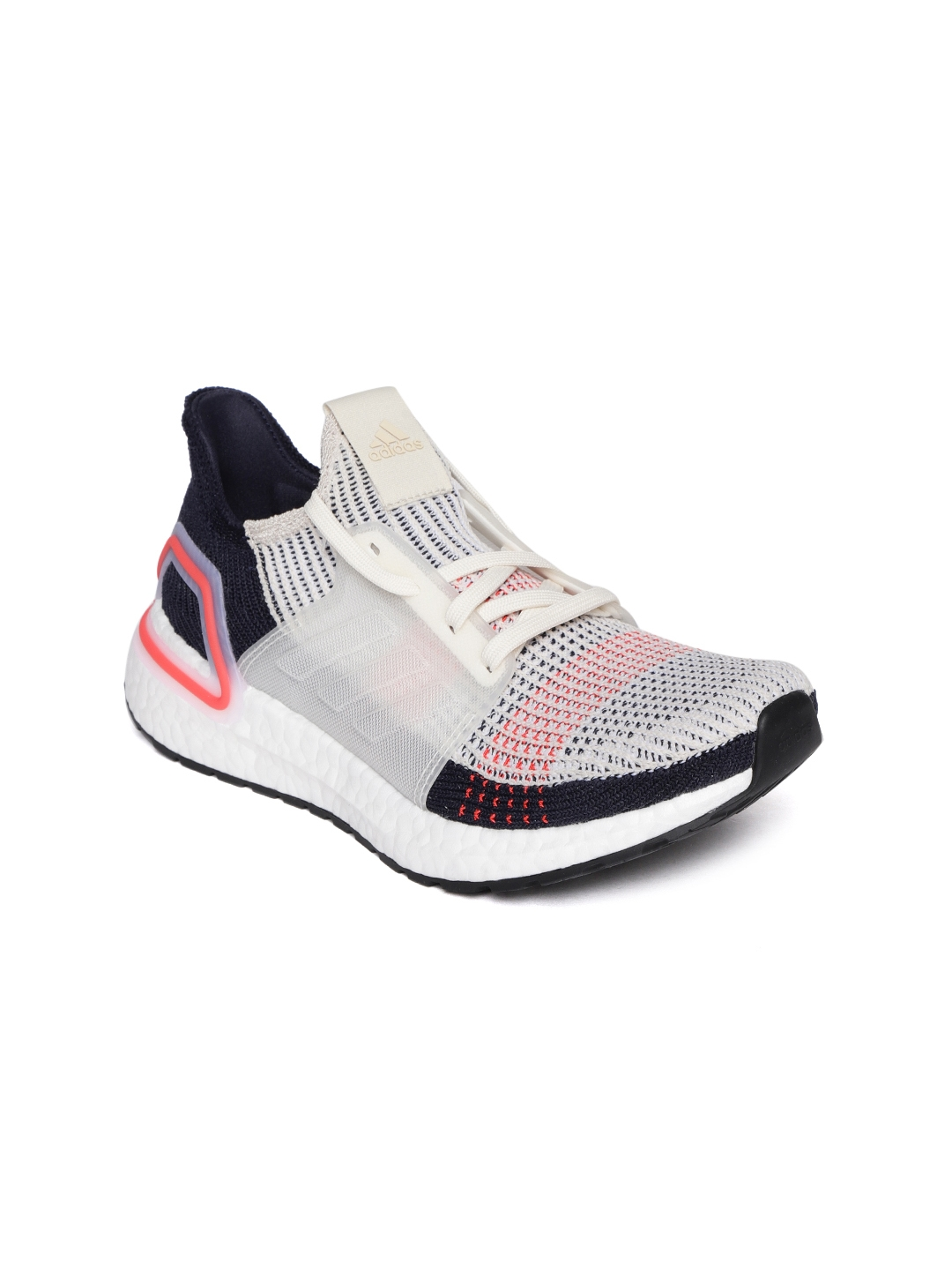 save off 18564 0ec21 ADIDAS Women Off-White   Navy Blue Ultraboost 19 Running Shoes