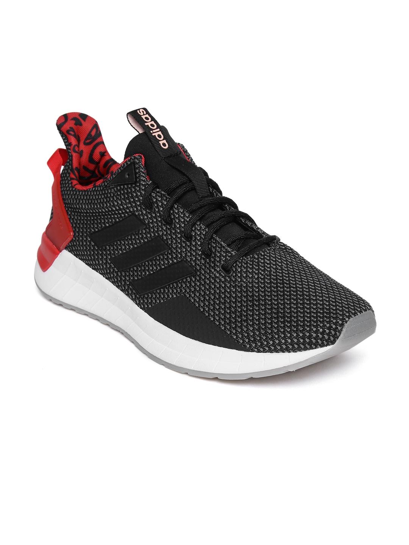 watch f1da8 61b69 ADIDAS Men Black QUESTAR RIDE Textile Mid-Top Running Shoes