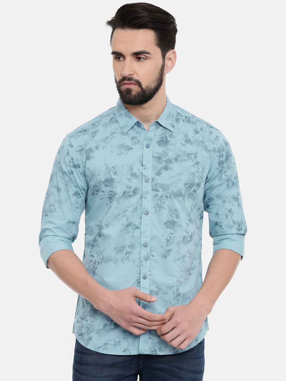 SPYKAR Men Blue Printed Casual Shirt