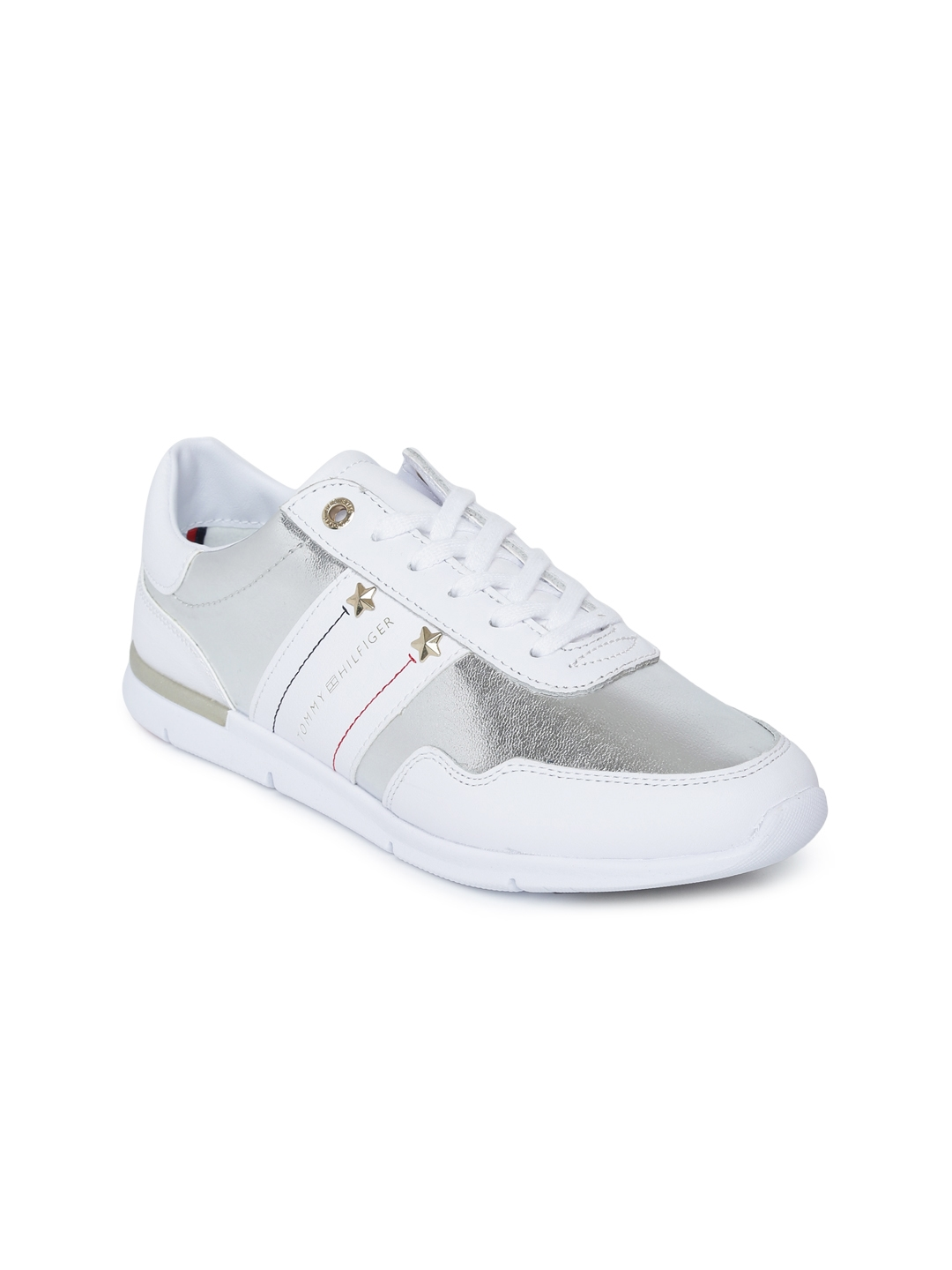 4d5a4b6b Tommy Hilfiger Women White & Silver-Toned Colourblocked Leather Sneakers