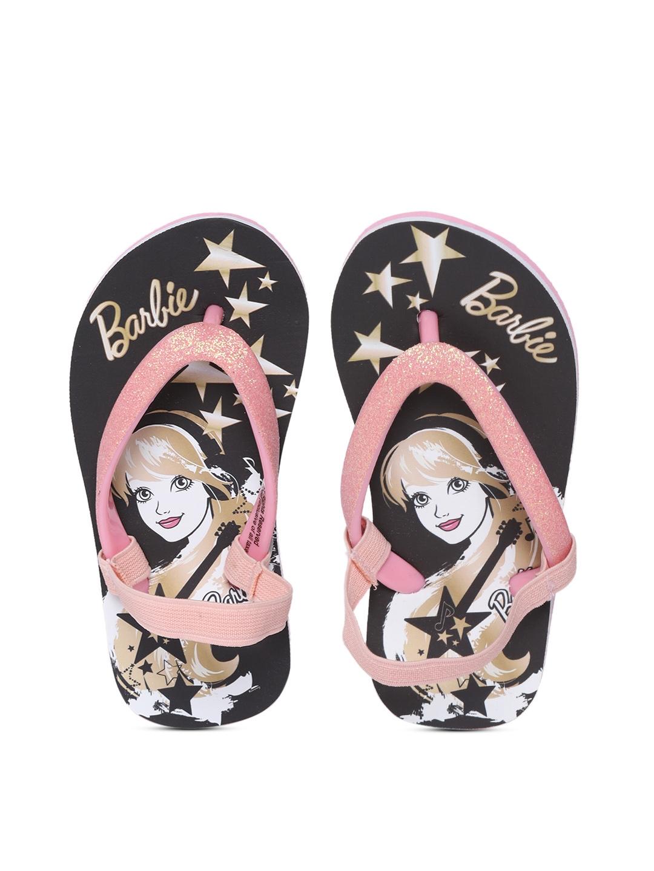abff98392b83f5 Buy Barbie Girls Pink   Black Printed Thong Flip Flops - Flip Flops ...