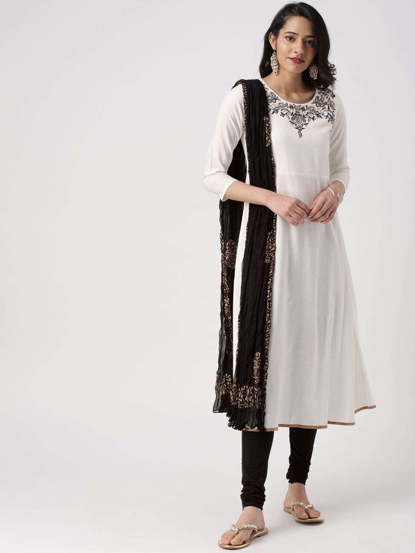 a89646406abbd IMARA Women White & Black Embroidered Kurta With Leggings & Dupatta