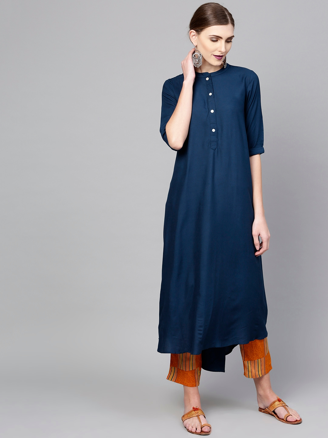 0c7d82a83 Libas Women Teal Blue   Orange Solid Kurta with Trousers. Best Price  ...