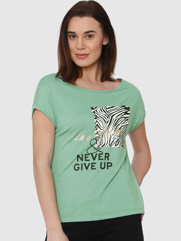 4c132246cdb7 Buy Vero Moda Women Green Printed Round Neck T Shirt - Tshirts for ...