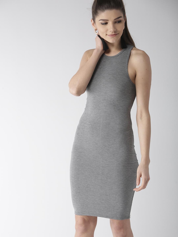 02a97439b30 Buy FOREVER 21 Women Grey Melange Solid Bodycon Dress - Dresses for ...