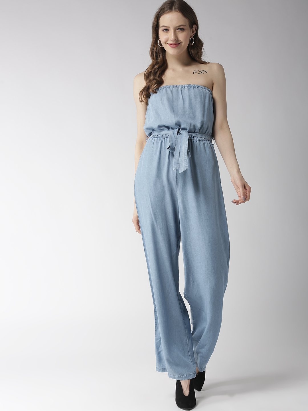 9d25497f9a12 Buy FOREVER 21 Blue Solid Chambray Tube Basic Jumpsuit - Jumpsuit ...