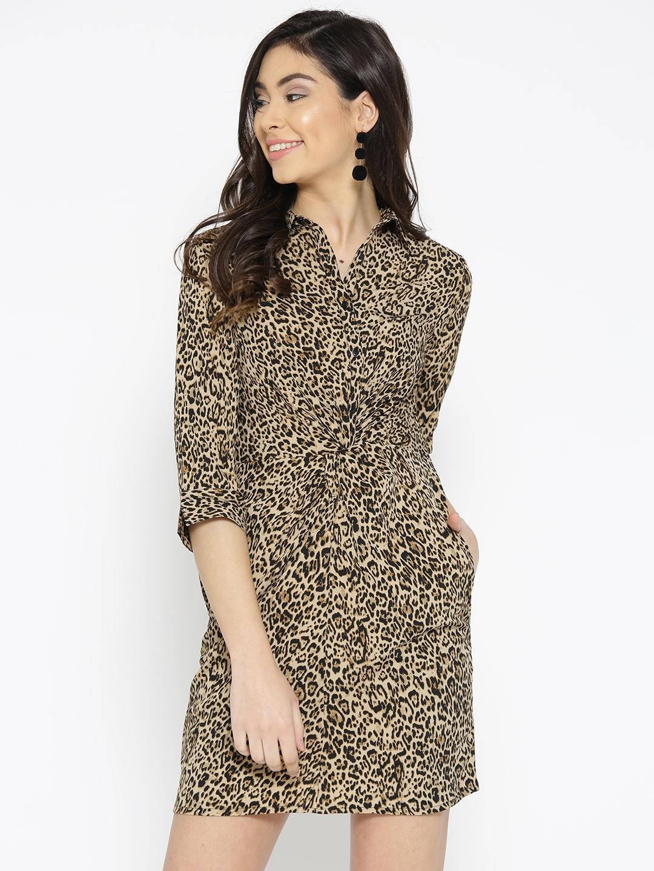6a406f87de0c Buy StalkBuyLove Women Beige & Black Animal Print Shirt Dress ...