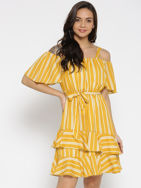 517719d801 Buy StalkBuyLove Women Mustard Yellow   White Striped A Line Dress ...